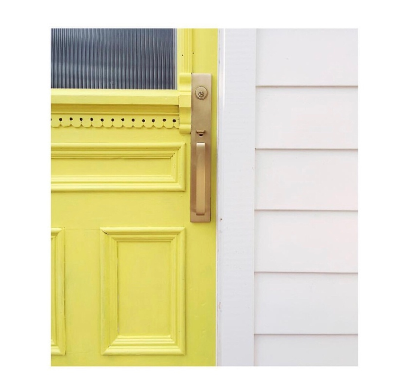 Yellow happiness by Christine Dovey, Happy Yellow Front Door with reeded glass and brass handle designer. Vintage door, pine door, door with glass insert, amid home, cheerful entry